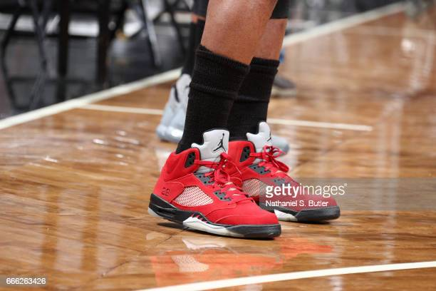 The sneakers of Jimmy Butler of the Chicago Bulls are seen before the game against the Brooklyn Nets on April 8 2017 at Barclays Center in Brooklyn...