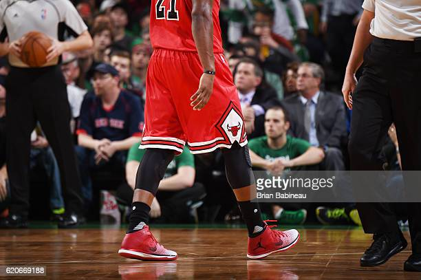 The sneakers of Jimmy Butler of the Chicago Bulls are seen during the game against the Boston Celtics on November 2 2016 at the TD Garden in Boston...