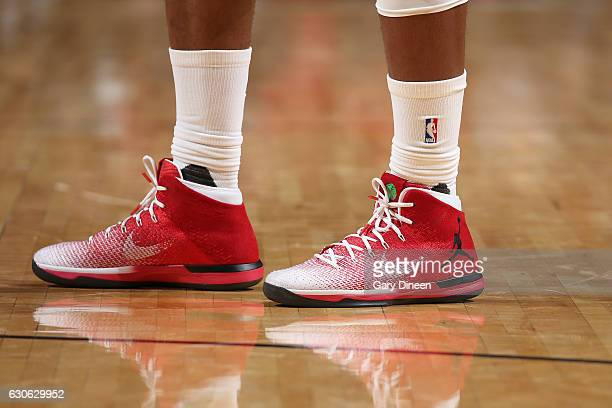 The sneakers of Jimmy Butler of the Chicago Bulls are seen during the game against the Brooklyn Nets on December 28 2016 at the United Center in...