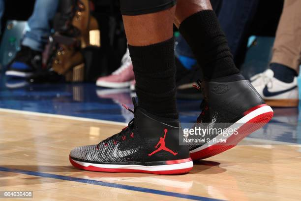 The sneakers of Jimmy Butler of the Chicago Bulls are seen during the game against the New York Knicks on April 4 2017 at Madison Square Garden in...