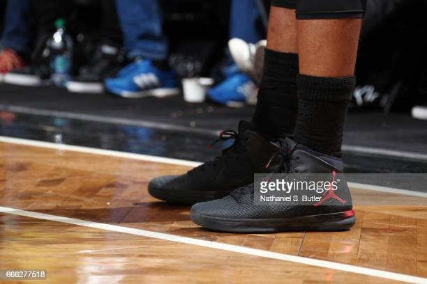 The sneakers of Jimmy Butler of the Chicago Bulls are seen during the game against the Brooklyn Nets on April 8 2017 at Barclays Center in Brooklyn...