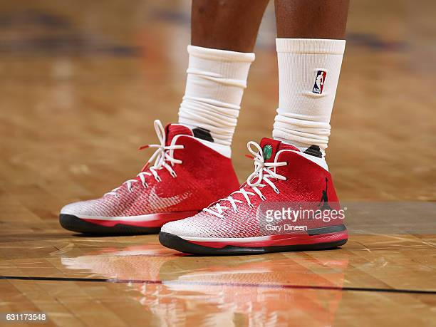 The sneakers of Jimmy Butler of the Chicago Bulls during the game against the Toronto Raptors on January 7 2017 at the United Center in Chicago...