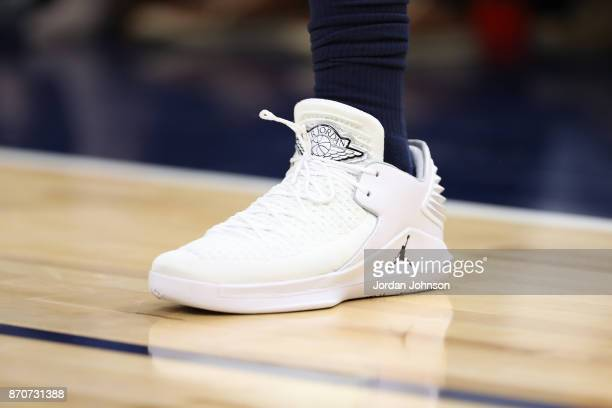 The sneakers of Jimmy Butler of the Minnesota Timberwolves are seen during the game against the Charlotte Hornets on November 5 2017 at Target Center...