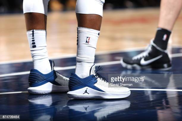 The sneakers of Jimmy Butler of the Minnesota Timberwolves are seen during the game against the San Antonio Spurs on November 15 2017 at Target...