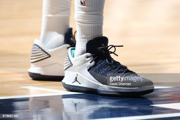 The sneakers of Jimmy Butler of the Minnesota Timberwolves are seen during the game against the Miami Heat on November 24 2017 at Target Center in...