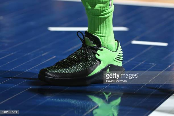 The sneakers of Jimmy Butler of the Minnesota Timberwolves during the game against the New Orleans Pelicans on January 6 2018 at Target Center in...