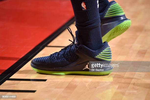 The sneakers of Jimmy Butler of the Minnesota Timberwolves during the game against the Houston Rockets on January 18 2018 at the Toyota Center in...