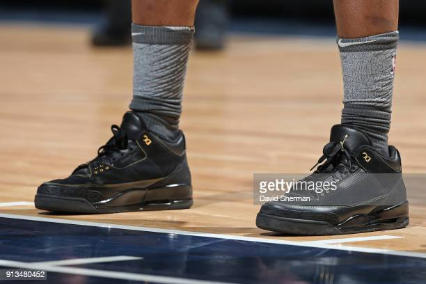 The sneakers of Jimmy Butler of the Minnesota Timberwolves during the game against the Milwaukee Bucks on February 1 2018 at Target Center in...
