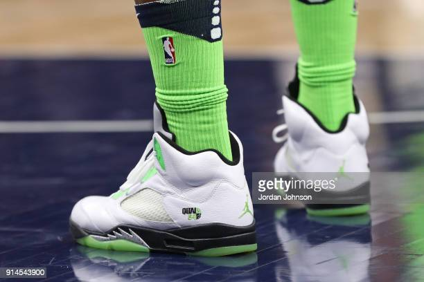 The sneakers of Jimmy Butler of the Minnesota Timberwolves during the game against the New Orleans Pelicans on February 3 2018 at Target Center in...