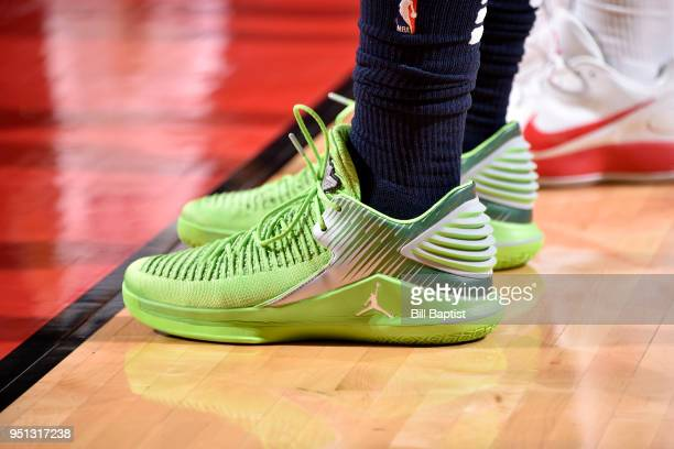 The sneakers of Jimmy Butler of the Minnesota Timberwolves in Game Five of the Western Conference Quarterfinals against the Houston Rockets during...