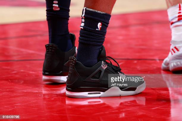 The sneakers of Jimmy Butler of the Minnesota Timberwolves of the Minnesota Timberwolves are seen during the game against the Chicago Bulls on...