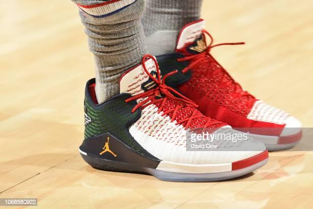 the sneakers of Jimmy Butler of the Philadelphia 76ers are seen against the Utah Jazz on November 16 2018 at the Wells Fargo Center in Philadelphia...