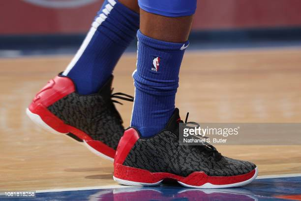 The sneakers of Jimmy Butler of the Philadelphia 76ers are seen against the New York Knicks on January 13 2019 at Madison Square Garden in New York...
