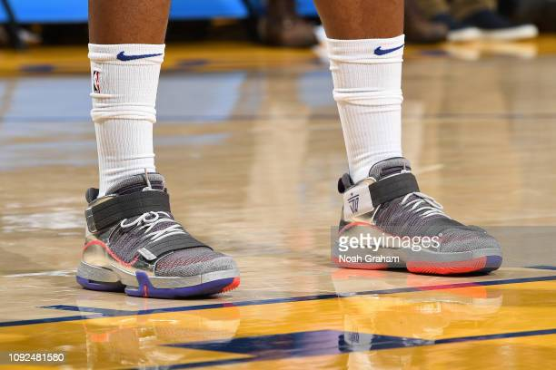 The sneakers of Jimmy Butler of the Philadelphia 76ers are worn during a game against the Golden State Warriors on January 31 2019 at ORACLE Arena in...