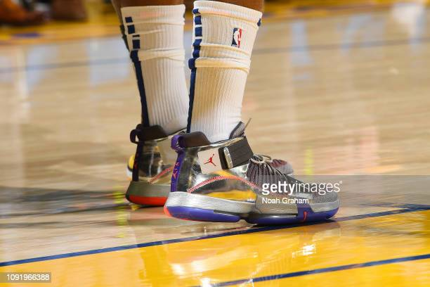 The sneakers of Jimmy Butler of the Philadelphia 76ers as seen during the game against the Golden State Warriors on January 31 2019 at ORACLE Arena...