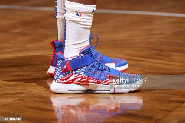 The sneakers of Jimmy Butler of the Philadelphia 76ers during Game Three of Round One of the 2019 NBA Playoffs against the Brooklyn Nets on April 18...