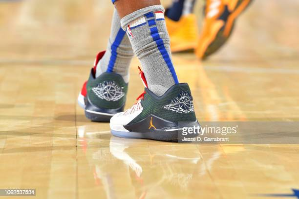 The sneakers of Jimmy Butler of the Philadelphia 76ers during the game against the Utah Jazz on November 16 2018 at Wells Fargo Center in...