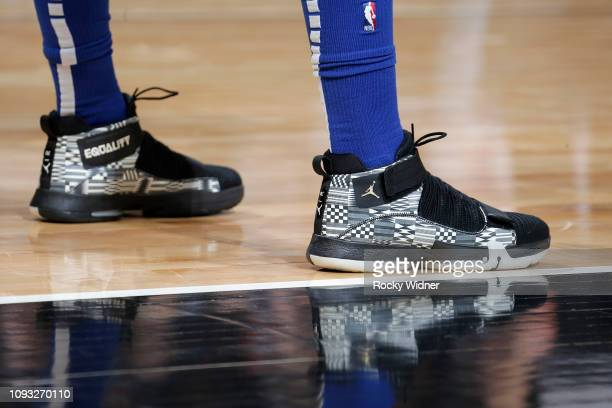 The sneakers of Jimmy Butler of the Philadelphia 76ers during the game against the Sacramento Kings on February 2 2019 at Golden 1 Center in...