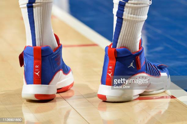 The sneakers of Jimmy Butler of the Philadelphia 76ers during the game against the Portland Trail Blazers on February 23 2019 at the Wells Fargo...