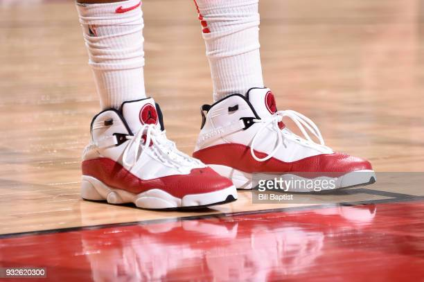 The sneakers of Joe Johnson of the Houston Rockets are seen during the game against the LA Clippers on March 15 2018 at the Toyota Center in Houston...