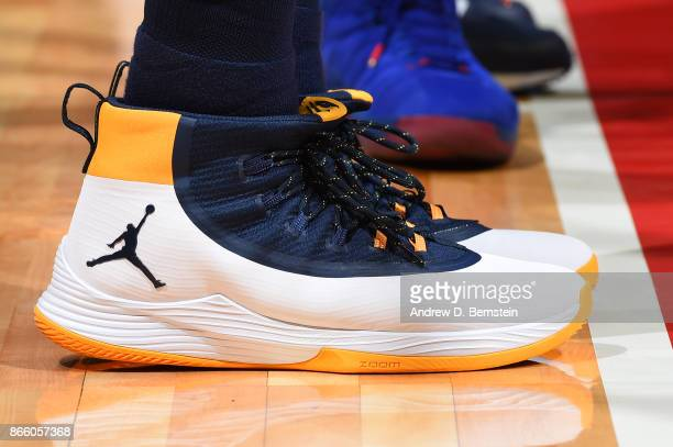 The sneakers of Joe Johnson of the Utah Jazz are seen during the game against the LA Clippers on October 24 2017 at STAPLES Center in Los Angeles...