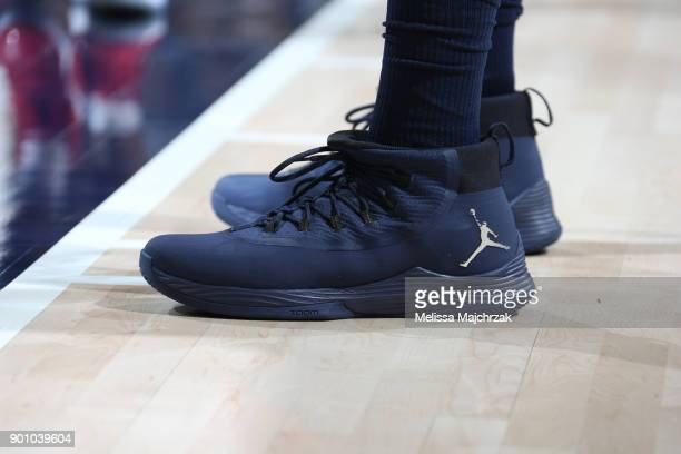 The sneakers of Joe Johnson of the Utah Jazz are seen during the game against the New Orleans Pelicans on January 3 2018 at vivintSmartHome Arena in...