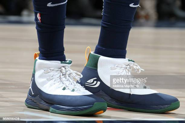 The sneakers of Joe Johnson of the Utah Jazz during the game against the Dallas Mavericks on October 30 2017 at Vivint Smart Home Arena in Salt Lake...