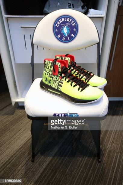The sneakers of Joel Embiid of Team Giannis are photographed prior to the 2019 NBA AllStar Game on February 17 2019 at the Spectrum Center in...