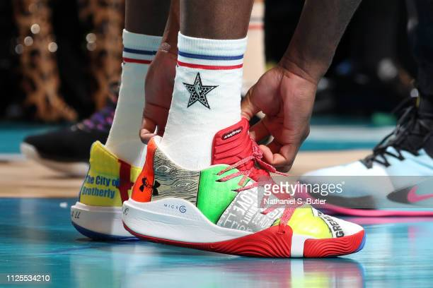 The sneakers of Joel Embiid of Team Giannis are worn during the 2019 NBA AllStar Game on February 17 2019 at the Spectrum Center in Charlotte North...