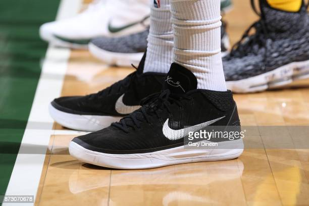 The sneakers of John Henson of the Milwaukee Bucks are seen during the game against the Los Angeles Lakers on November 11 2017 at the BMO Harris...