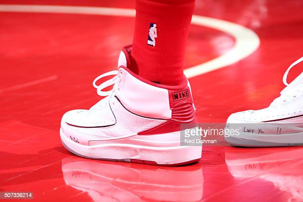 The sneakers of John Wall of the Washington Wizards are seen against the Denver Nuggets on January 28 2016 at Verizon Center in Washington DC NOTE TO...