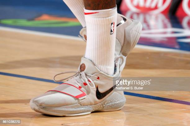 The sneakers of John Wall of the Washington Wizards are seen during the game against New York Knicks on October 13 2017 at Madison Square Garden in...