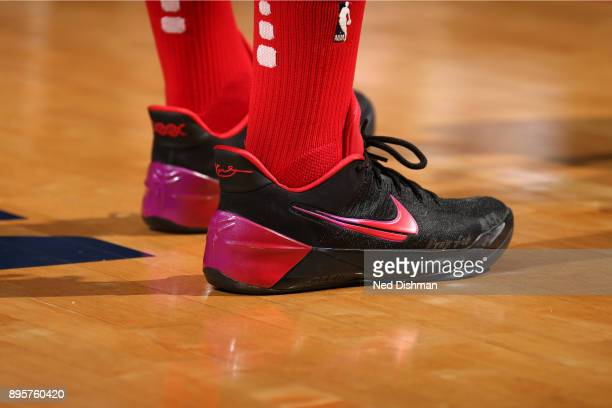 The sneakers of John Wall of the Washington Wizards are seen during the game against the New Orleans Pelicans on December 19 2017 at Capital One...