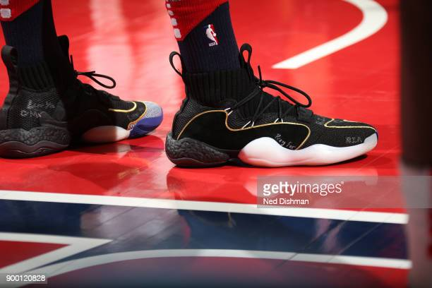 The sneakers of John Wall of the Washington Wizards are seen during the game against the Chicago Bulls on December 31 2017 at Capital One Arena in...