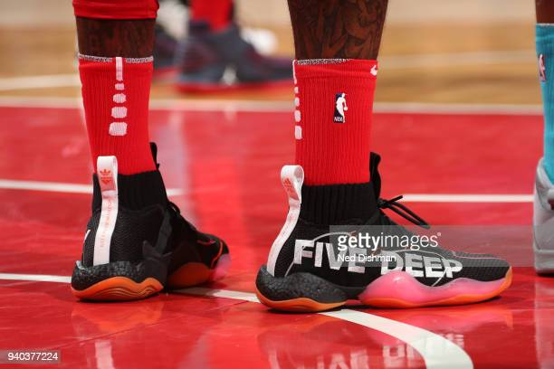 The sneakers of John Wall of the Washington Wizards as seen during the game against the Charlotte Hornets on March 31 2018 at the Capital One Arena...