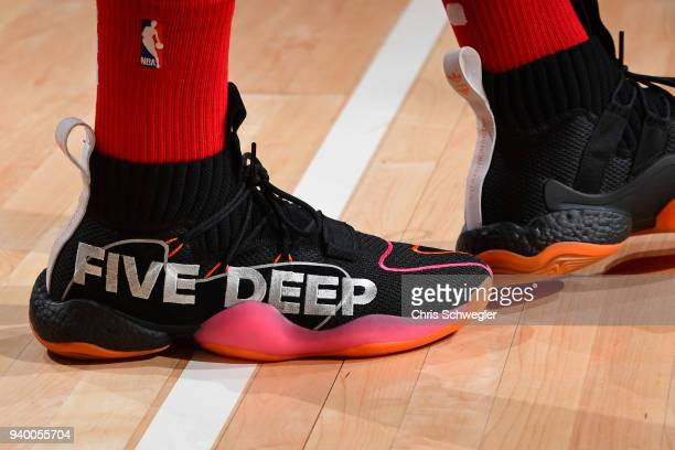 The sneakers of John Wall of the Washington Wizards before the game against the Detroit Pistons on March 29 2018 at Little Caesars Arena in Detroit...