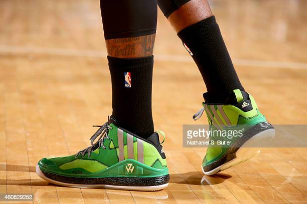 The sneakers of John Wall of the Washington Wizards during a game against the New York Knicks at Madison Square Garden on December 25 2014 in New...