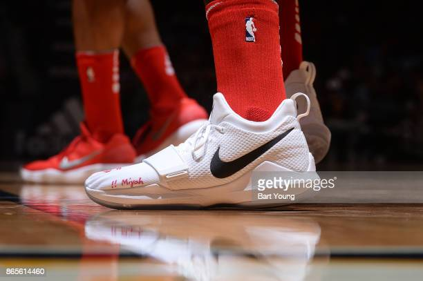 The sneakers of John Wall of the Washington Wizards during the game against the Denver Nuggets on October 23 2017 at the Pepsi Center in Denver...