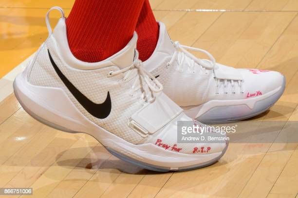 The sneakers of John Wall of the Washington Wizards during the game against the Los Angeles Lakers on October 25 2017 at STAPLES Center in Los...