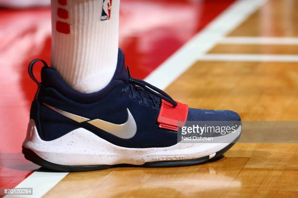 The sneakers of John Wall of the Washington Wizards during the game against the Phoenix Suns on November 1 2017 at Capital One Arena in Washington DC...