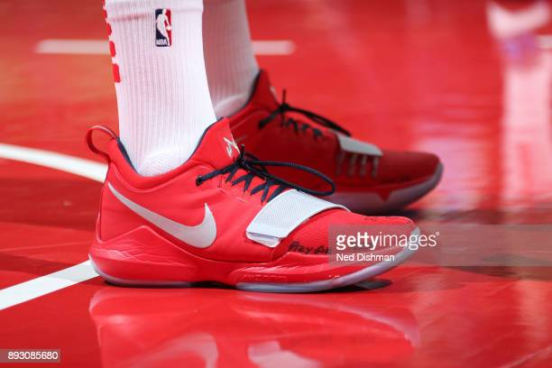 The sneakers of John Wall of the Washington Wizards during the game against the Memphis Grizzlies on December 13 2017 at Capital One Arena in...