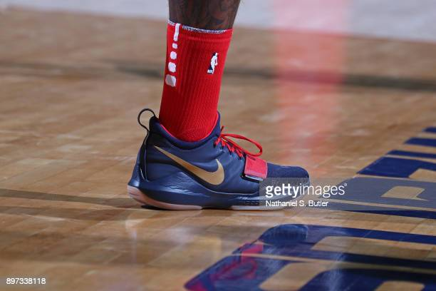 The sneakers of John Wall of the Washington Wizards during the game against the Cleveland Cavaliers on December 17 2017 at Capital One Arena in...