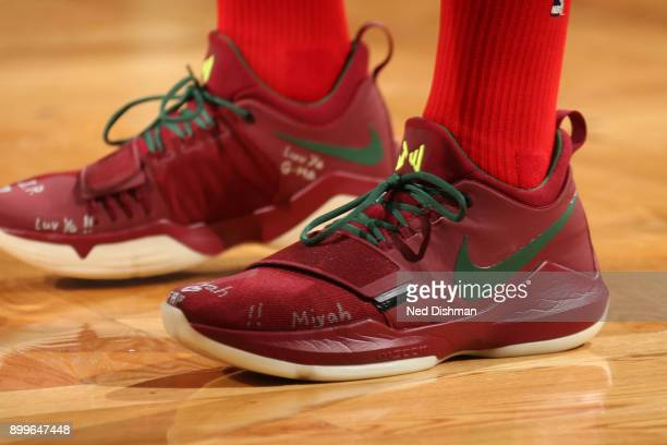 The sneakers of John Wall of the Washington Wizards during the game against the Boston Celtics on December 25 2017 at the TD Garden in Boston...