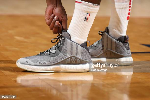 The sneakers of John Wall of the Washington Wizards during the game against the Utah Jazz on January 10 2018 at Capital One Arena in Washington DC...