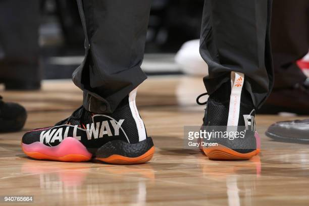 The sneakers of John Wall of the Washington Wizards during the game against the Chicago Bulls on April 1 2018 at the United Center in Chicago...