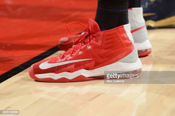 The sneakers of Jonas Valanciunas of the Toronto Raptors are seen during the game against the New Orleans Pelicans on January 31 2017 at the Air...