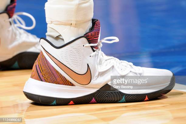 The sneakers of Jonathan Isaac of the Orlando Magic during the game against the Charlotte Hornets on February 14 2019 at Amway Center in Orlando...
