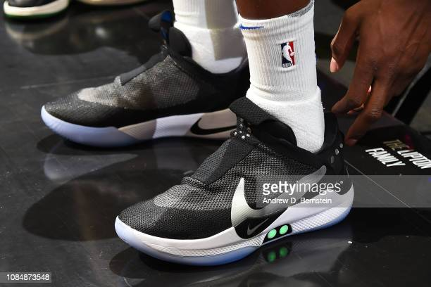The sneakers of Jordan Bell of the Golden State Warriors are worn prior to a game against the LA Clippers on January 18 2019 at STAPLES Center in Los...
