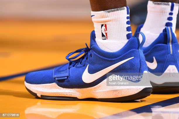 The sneakers of Jordan Bell of the Golden State Warriors before the game against the Miami Heat on November 6 2017 at ORACLE Arena in Oakland...