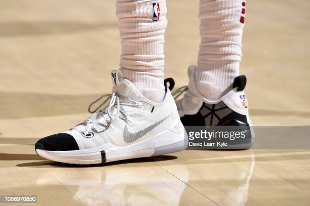 the sneakers of Jordan Clarkson of the Cleveland Cavaliers are seen against the Oklahoma City Thunder on November 7 2018 at Quicken Loans Arena in...